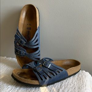 Birkenstock Grenada Blue Leather Sandals Size 40